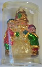 Vintage Unused Chrismas Tree Decor Hanging Ornament Wax Snowman & Boy/Girl Kids