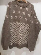 HAND-CRAFTED MANS ICELANDIC PATTERN CHUNKY SWEATER, 100% WOOL OILED YARN, SZ XXL
