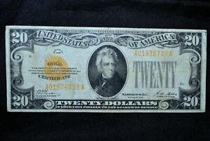 1928 $20 GOLD CERTIFICATE ✪ VF VERY FINE ✪ YELLOW SEAL SCARCE NOTE 738 ◢TRUSTED◣