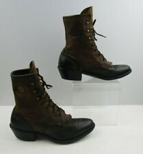 Ladies Black / Brown Leather Western Roper Lace Up Boots Size : 6 M