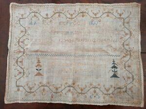 Antique Victorian  Embroidery Sampler Elizabeth Penn Pitkin 1836 unframed