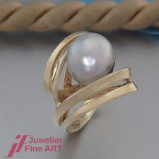 ausgefallener Ring mit 1 Süßwasser-Zucht-Perle - grau - 14K/585 Gelbgold