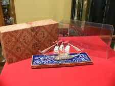 Vtg. 925 Sterling Silver Filigree 3-masted sailing ship w/glass cover