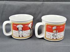 Campbell's Soup Kids 2001 Ceramic Soup Mug 1910-1990 Timeline-Set of 2-14 oz.