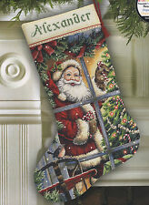Cross Stitch Kit ~ Gold Collection Candy Cane Santa Christmas Stocking #8778