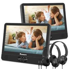 "2*12"" LCD Dual Screen Portable DVD Player Car Headrest TV Monitor USB SD+Headset"