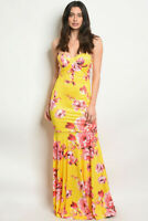 Misses Yellow Floral Maxi Dress Size Medium Strapless Bodycon Mermaid Cut