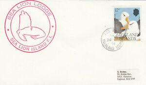 (86409) Falklands Cover Sea Lion Lodge cachet Fox Bay 1991