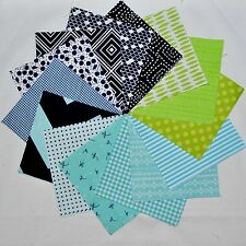 "Designer Fabric 5"" Squares Charm Pack, Navy/Aqua/Lime Green, 56 pcs, 100% cotton"