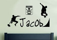 Personalized Skater Skateboarding Skate Teen or Kids Art Decor Vinyl Wall Decal
