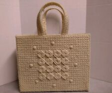 Plastic Canvas Needlepoint Completed Purse Tote Bag Ivory Geometric Beach Lined