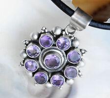 Groß Massiv Silber Kettenanhänger Amethyst Lila Rund Amulett Handarbeit Anhänger