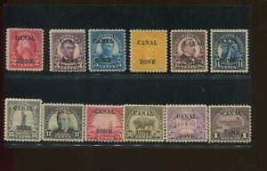 1925 Canal Zone Panama Envoi Tampon #84-95 Excellent État F/VF Original Gum Set
