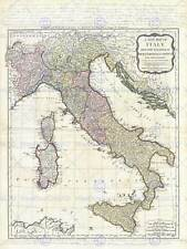 GEOGRAPHY MAP ILLUSTRATED ANTIQUE D'ANVILLE ITALY LARGE POSTER ART PRINT BB4304A