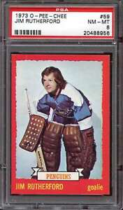 1973-74 O-PEE-CHEE #59 JIM RUTHERFORD PSA 8 PENGUINS *ACG0254