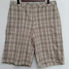 Transnine Mens Shorts 34 Brown Plaid Flat Front 100% Cotton Casual