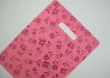 50 Plastic Die Cut Boutique Shopping Carry Gift Bags - 350x250mm - Pink & Red