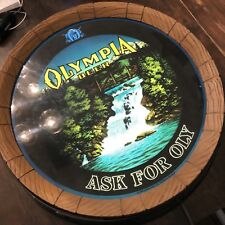 Vintage Olympia Beer Sign Barrel Ask for OLY Rotating Waterfall Lighted
