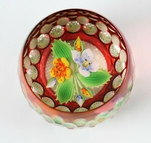 Perthshire Overlay Bouquet 1994 G lampwork glass limited edition paperweight