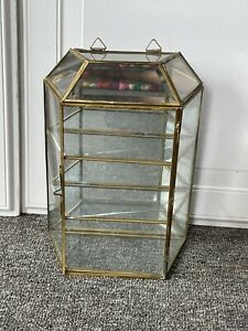 Vintage Brass Glass Mirror Display Case Curio Cabinet Table Top Wall Mount Decor