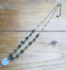 Dainty Bead Necklace/Turquoise Blue/Glass & Shell/Hippy/Boho/Silver Tone