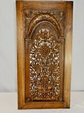 """Wooden Shutter Carved in High-Relief Arched Floral Pattern. Wood Pegs. 26"""" x 13"""""""