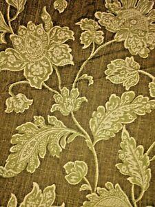 Williamsburg Everard Damask green olive crem Botanical Upholstery Drapery Fabric