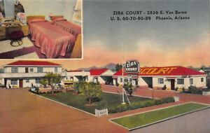 Linen Postcard Zira Court Hotel Motel in Phoenix, Arizona~120125