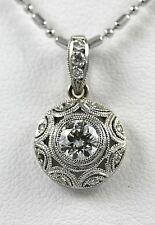 Diamond Drop Platinum Vintage Style Pendant with 0.50ct Diamond Center + 0.06ct