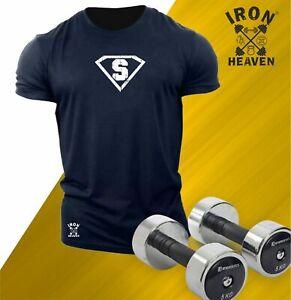 Superhero S T Shirt Gym Clothing Bodybuilding Training Workout Exercise Men Top