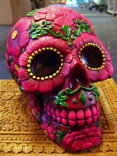SUGAR BLOSSOM SKULL Ornament MONEY BOX MEXICAN Day of the Dead GOTHIC PAGAN
