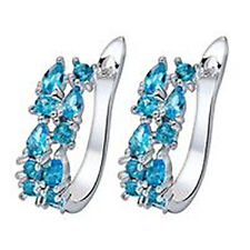 925 sterling silver Earrings Aquamarine hoop pear cut GORGEOUS by Chic