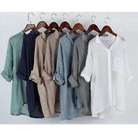Women Cotton Linen Long Sleeve Shirt Casual Loose Blouse Button Down Tops S-2XL~