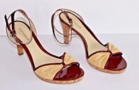 Ann Taylor Pumps Ankle Strap Beige/Red Open Toe Size 8
