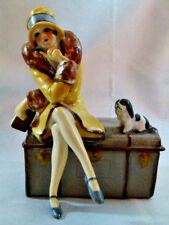 BEAUTIFUL ART DECO DRESSER BOX HALF DOLL REL. FLAPPER LADY & DOG FASOLD STAUCH