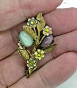 Antique Pressed Brass Purple & Green Stone Flower Pin Brooch