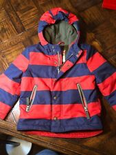 Mini Boden Boys Coat 3-4 Red/navy Stripes