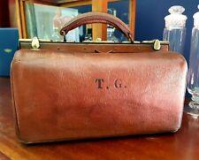 "Vintage Gladstone Leather case bag Circa 1920s Monogrammed ""T.G."" Medium."