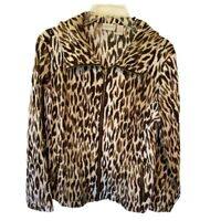 Zenergy By Chicos Womens Jacket Beige Leopard Stretch Zip Up Pockets M/8