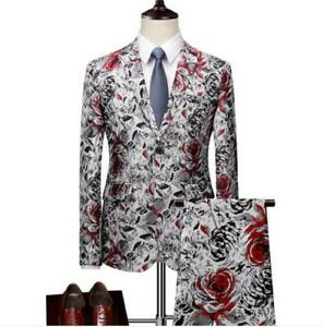 Mens Wedding Slim Fit Size Plus Handsome Hot Show 2Pcs Printing Floral Business