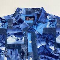 Harbor Bay Button Up Shirt Mens XXL Blue Floral Hawaiian Short Sleeve Casual