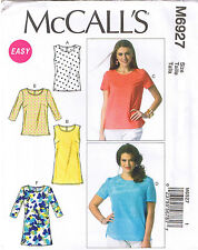 Easy Womens Pullover Tops Tunics McCalls 6927 Sewing Pattern Plus Sz 18 20 22 24