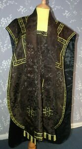 Chasuble with Matching Stole and Maniple in Black Brocade with Jerusalem Cross
