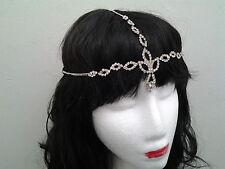 Vintage Headchain bridal Diamante silver  Downton Abbey Flapper 20s Gatsby