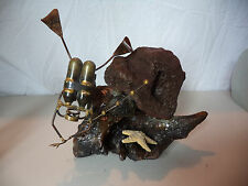 Mid Century Modern Scuba Diver Diving Metal Art Sculpture w/ Lava Rock Wood!