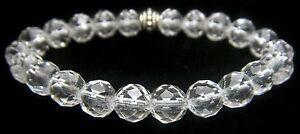 BRACELET - CLEAR QUARTZ Grade A Faceted 8mm Round Crystal Bead w/Description