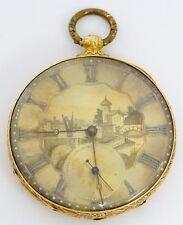 Tobias Pocket Watch, London,16/18K Solid Gold Case W/Scenery On Dial - rf50475