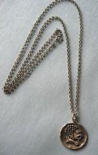 Sterling Silver Pendant & Chain w Replica Antique Coin  25.1 grams