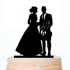 Scottish Wedding Engagement Cake Topper Groom in Kilt with Pet Decor Custom