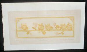 """Jennifer Berringer """"Five Owls"""" Etching Signed #190/200 Listed Artist"""